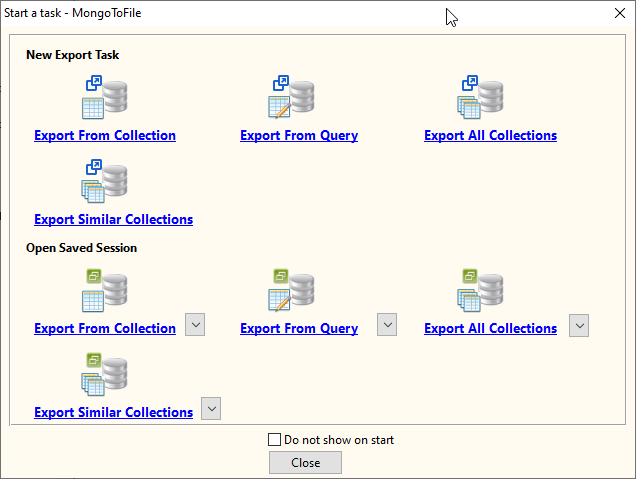 Batch export MongoDB collections to Excel files - task window