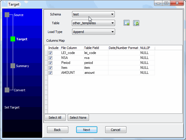 convert online CSV file to Oracle table - config Oracle table