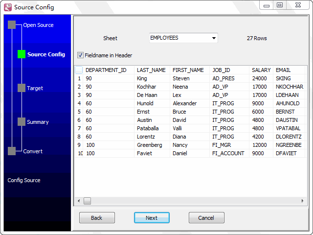 Bulk load Excel files data To Dbf (dBase, FoxBase, FoxPro) - select table