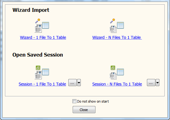 Batch import Excel files data To Dbf (dBase, FoxBase, FoxPro) - task window