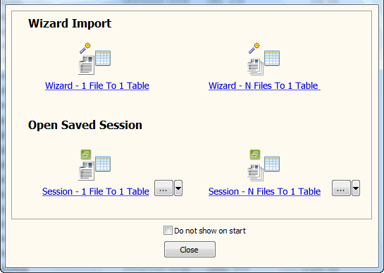 Batch import XML files data To SQL Server - task window